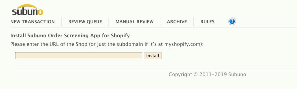 Subuno shopify app installation link