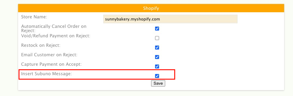 Insert Subuno Message in Shopify