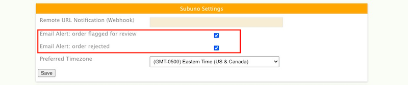 Subuno settings email alerts