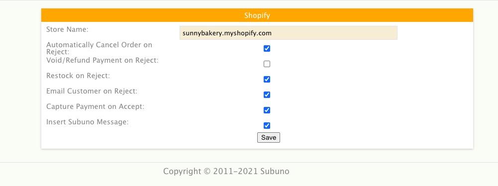 Shopify profile dialogue box in Subuno