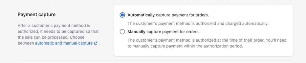 Shopify payment capture setting